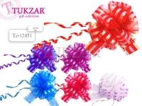 Бант-шар 5*18 см из органзы полоска перламутр 6 цветов в ассортименте TZ12451